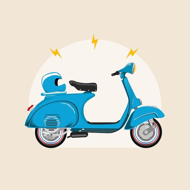 Мотоцикл скутер синий винтаж Premium векторы