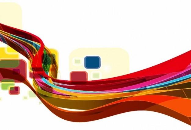 抽象的な波のデザインのベクトルの背景美術 無料ベクター