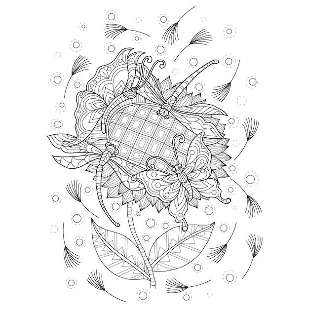 蝶と花の手描きのイラスト Premiumベクター