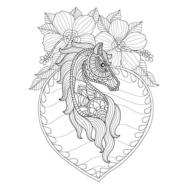 手描きの馬とハイビスカスの花 Premiumベクター