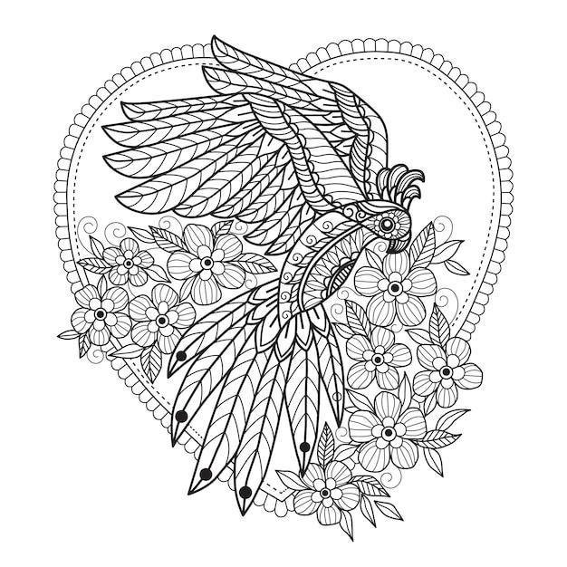 Раскраски попугай и цветы для взрослых Premium векторы