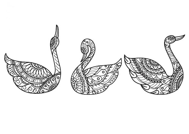 白鳥のパターン。大人の塗り絵の手描きスケッチ図 Premiumベクター