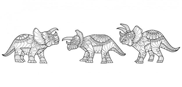 Динозавр ручной обращается эскиз иллюстрации для взрослых книжка-раскраска Premium векторы