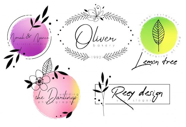 水彩画と花のシックなロゴのテンプレート Premiumベクター