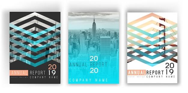 Шаблон обложки градиента годового отчета Premium векторы