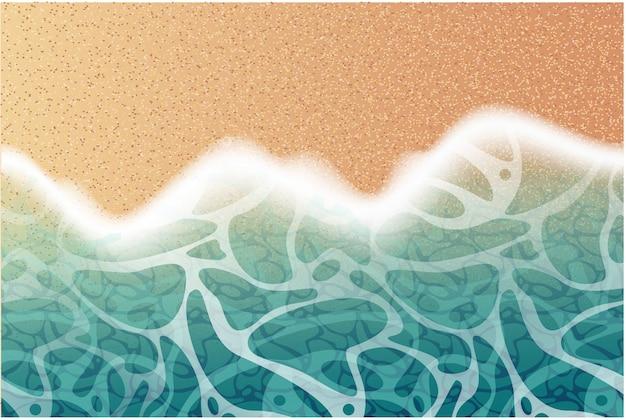 Реалистичная пляж фон с морскими волнами и песком Premium векторы
