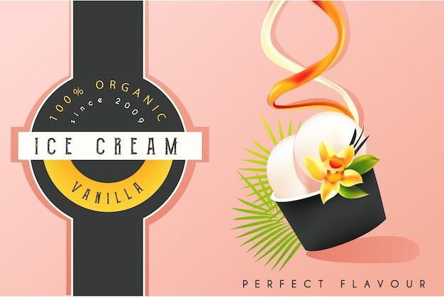 Рекламный баннер для мороженого Premium векторы