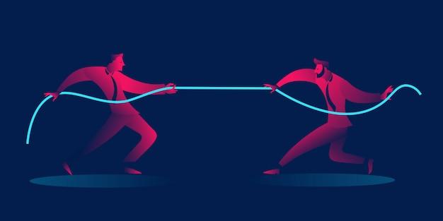 ビジネスマンのロープを引っ張る。競争ビジネスコンセプト Premiumベクター