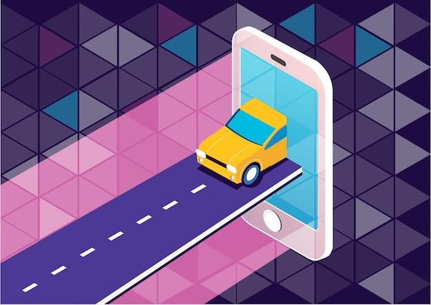 Концепция мобильного приложения для мобильных устройств для такси Premium векторы