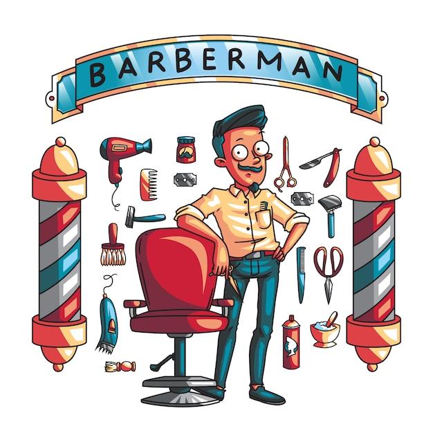 理髪ツールと理髪師のセット Premiumベクター