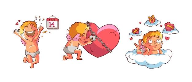 バレンタインキューピッド Premiumベクター