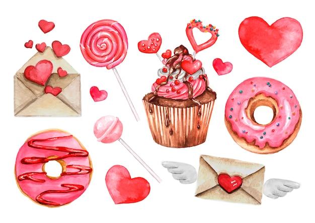Леденец, сладкие конфеты, пончик, набор сердец Premium векторы