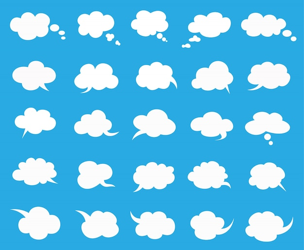 白い雲が青に設定された泡を話す Premiumベクター
