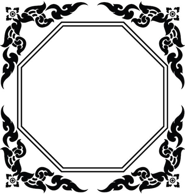 タイのパターンベクトルの芸術的な八角形のフレーム Premiumベクター