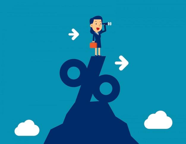 パーセント記号の上に望遠鏡立って見ている女性。コンセプトビジネスマーケティングベクトル図、成功 Premiumベクター