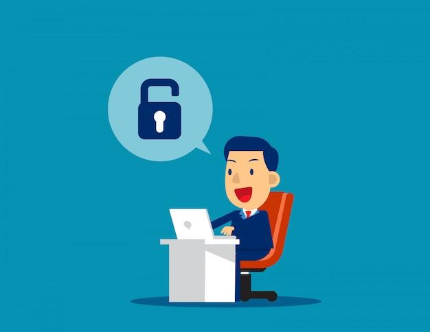 実業家のロックを解除します。コンセプトビジネス技術ベクトルイラスト、達成、成功 Premiumベクター