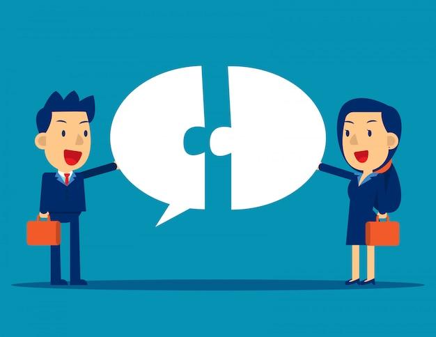 吹き出しとのビジネスコミュニケーション Premiumベクター