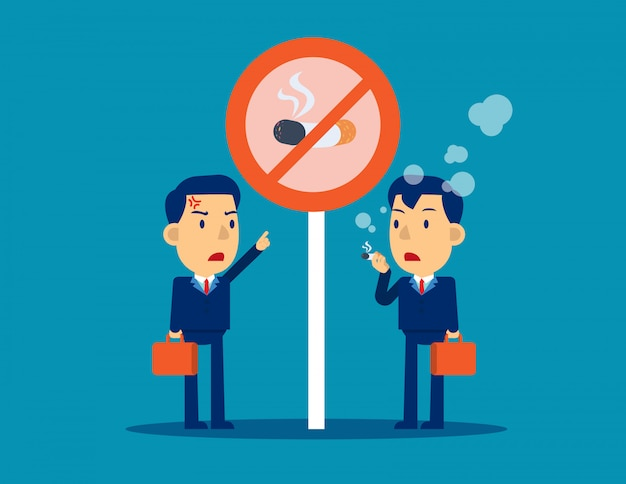 Плохой персонаж, курящий под сигналом, не курит Premium векторы