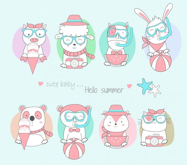 かわいい赤ちゃん動物 Premiumベクター