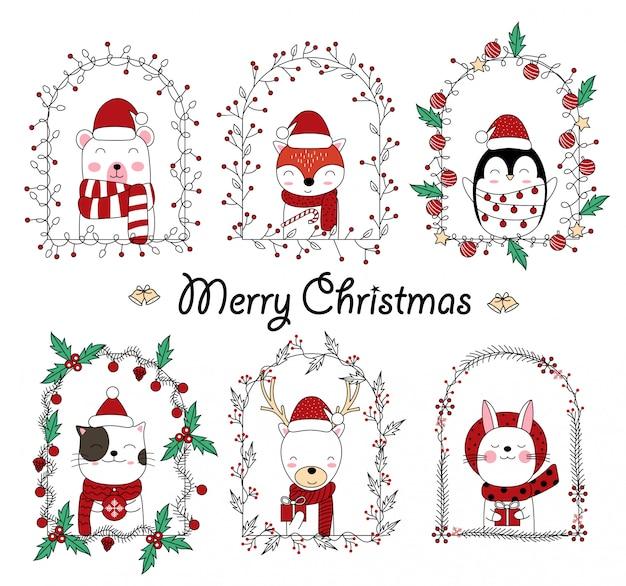 花のフレームでクリスマスかわいい動物漫画 Premiumベクター