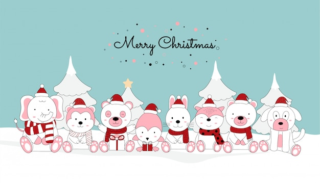 かわいい赤ちゃん動物とサンタ衣装、サンタ帽子とクリスマスグリーティングカードデザインの背景。 Premiumベクター