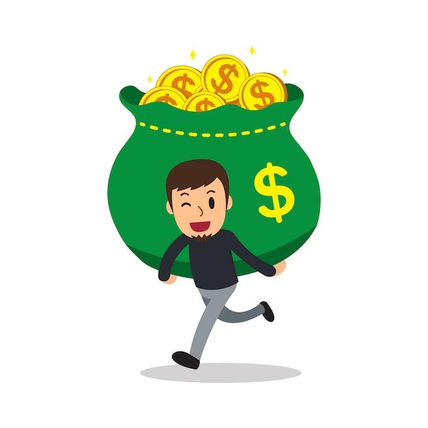 Мультфильм человек, несущий большую сумку денег Premium векторы