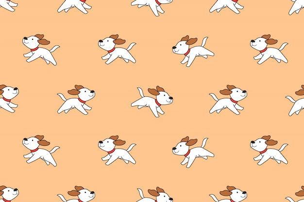 Мультфильм характер милая собака бесшовный фон Premium векторы