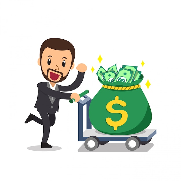 大きなお金の袋を押す漫画実業家 Premiumベクター