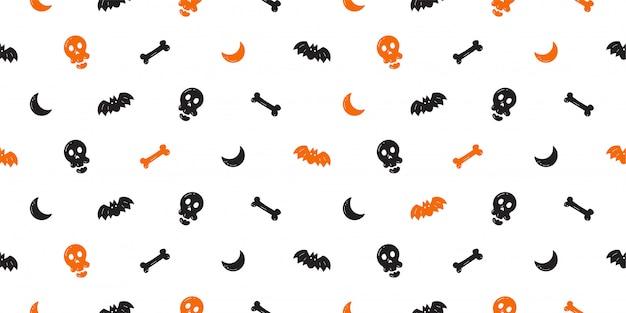 Хэллоуин бесшовные модели фона мультяшном стиле Premium векторы