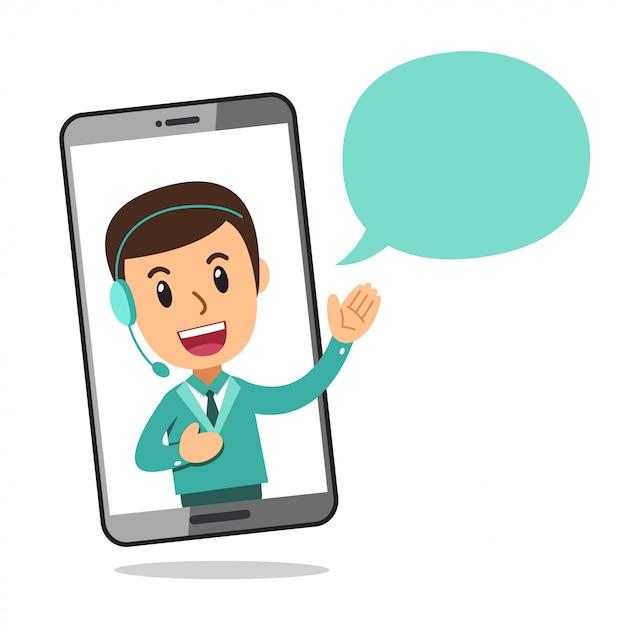 Персонажа из мультфильма колл-центр службы человек носить гарнитуру на экране смартфона Premium векторы