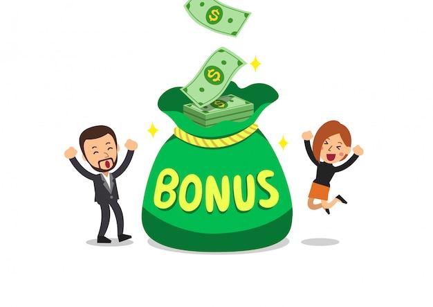 Мультяшный бизнес люди с большой бонусной сумкой Premium векторы