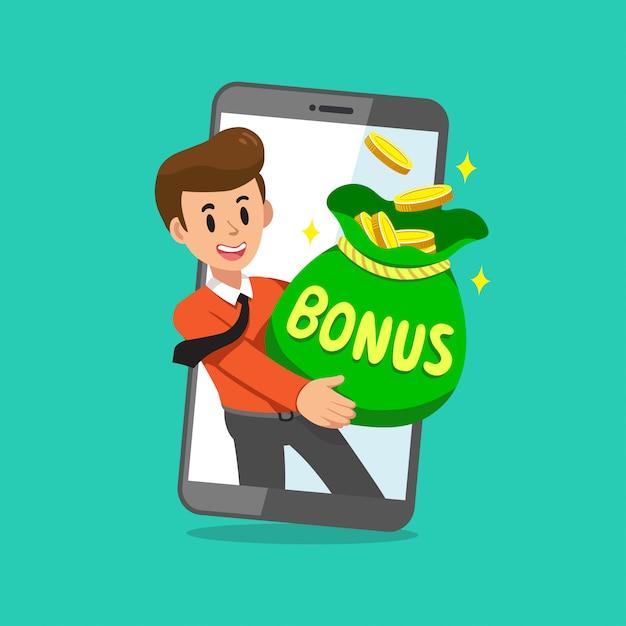 Мультяшный бизнесмен с большой бонусной сумкой на экране смартфона Premium векторы