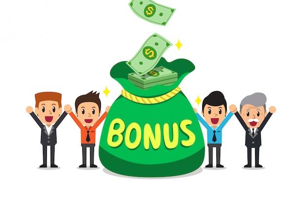 Мультяшный счастливых деловых людей с большим бонусом Premium векторы