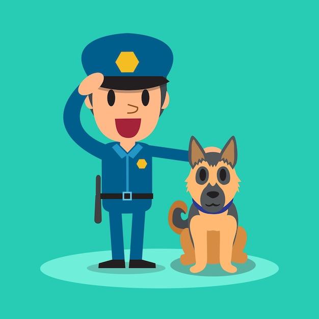 ガードドッグと漫画の警備員警察官 Premiumベクター