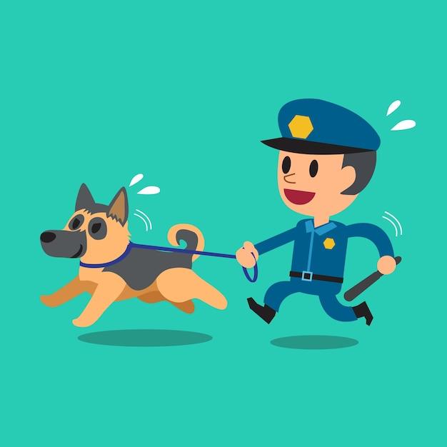 警察警備犬と漫画警備員警官 Premiumベクター