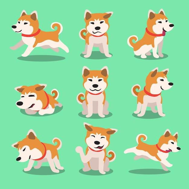 漫画のキャラクターあきたな犬のポーズ Premiumベクター