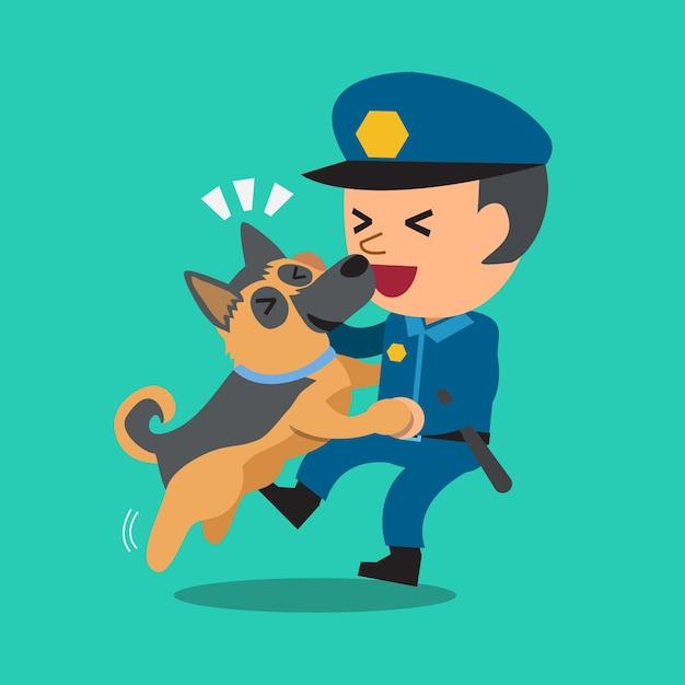 彼の警備犬と漫画警備員警官 Premiumベクター
