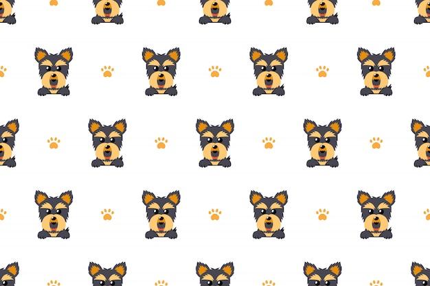 ヨークシャーテリアの犬のシームレスなパターン Premiumベクター