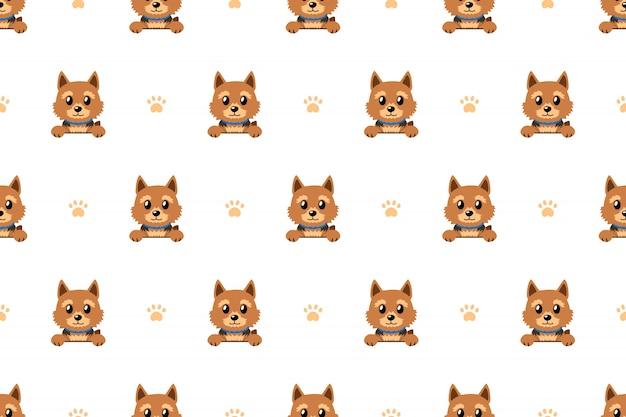 ベクトル漫画のキャラクターのノーリッチテリア犬のシームレスパターン Premiumベクター