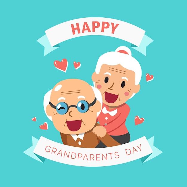 幸せなおじいちゃんとおばあちゃんの祖父母の日 Premiumベクター