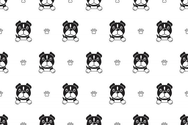 文字ピット・ブルテリア犬のシームレスパターン Premiumベクター
