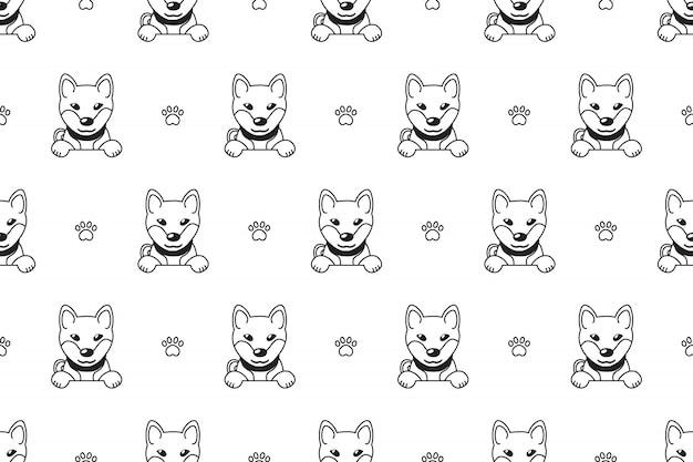 漫画のキャラクター柴犬犬のシームレスパターン Premiumベクター