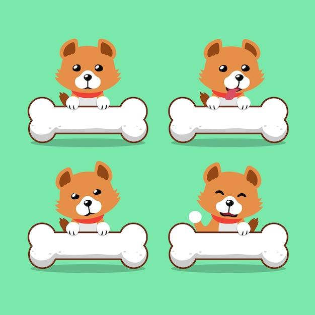 Мультипликационный персонаж милая собака с большими костями Premium векторы