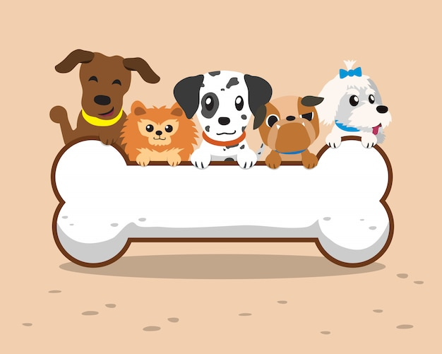 Мультяшные собаки с большой костью Premium векторы