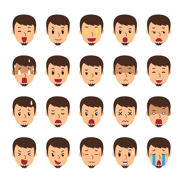 Набор лица человека, показывая разные эмоции Premium векторы