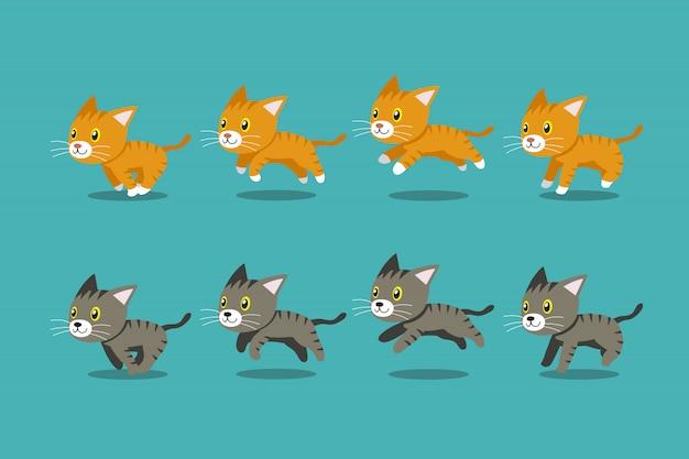 Векторный мультфильм полосатый кот бегущий шаг Premium векторы