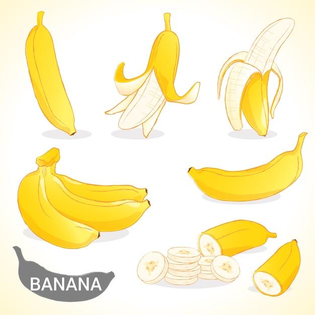 Набор бананов в различных стилях в векторном формате Premium векторы