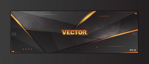 抽象的なゲームヘッダーソーシャルメディアバナーテンプレート Premiumベクター