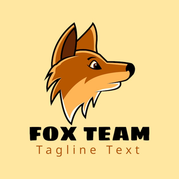 テキストのロゴデザインとサイドビューヘッドフォックスチーム Premiumベクター