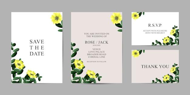 結婚式の花カード招待状のテンプレート - 結婚式の花の特別なデザイン Premiumベクター